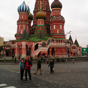 Brano and Paula in front of the St Basil's Cathedral - Moscow