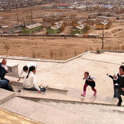 Children playing outside a temple in Tsetserleg