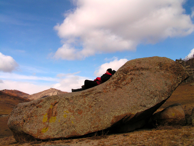 Mongolia - Brano resting on a rock bed