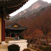 South Korea - Paula in a temple in Gyeryong-san