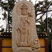South Korea - a statue in Haedong Yonggunsa Temple