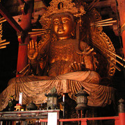 Japan - a statue inside Great Eastern Temple in Nara