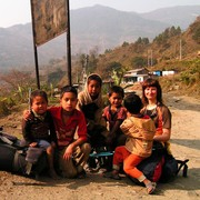 Paula with Nepalese children