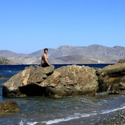 Greece - Kalymnos - Paula on Melitsahas pebbles beach