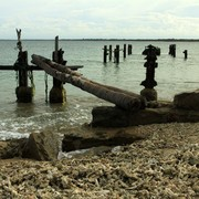 Sri Lanka - Kalkudah bay - a destroyed pier
