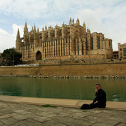 Mallorca - sightseeing in Palma - in front of La Seu