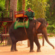 Elephant riding in Cambodia